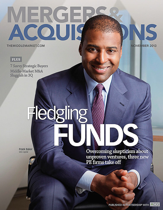 Editorial portrait of Frank Baker at SIRIS Capital Group in NYC for Mergers and Acquisitions magazine.